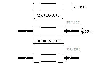 Glass Tube Fuse 6*30 Double-Cap Rt1-32 (Double cap with A Line)