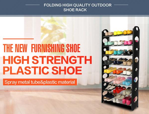 4-Tier Shoe Organizer Storage Floor Standing Rack 12 Pairs Plastic