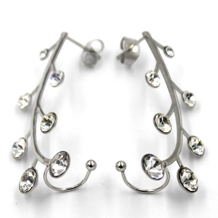 Simple Leaf Design Ear Stud Wedding White Gold Earring Models