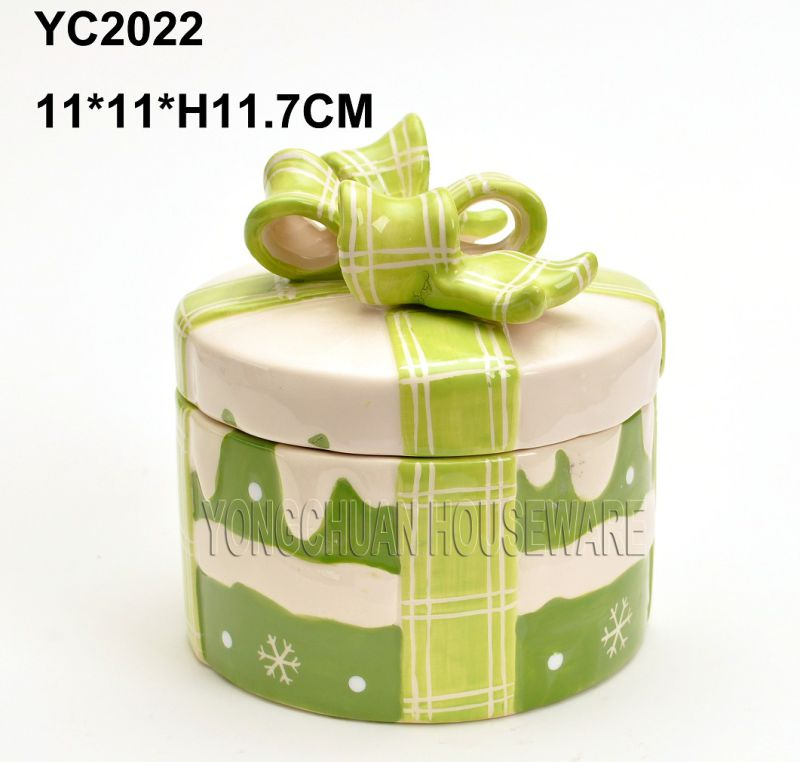 Hand-Painted Christmas Round Cookie Jar
