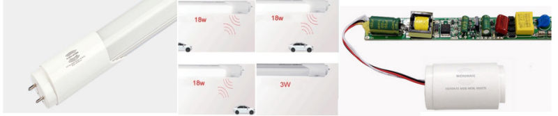 2FT 3FT 4FT 5FT 18W Induction Motion/Microwave Sensor LED Tube T8 LED