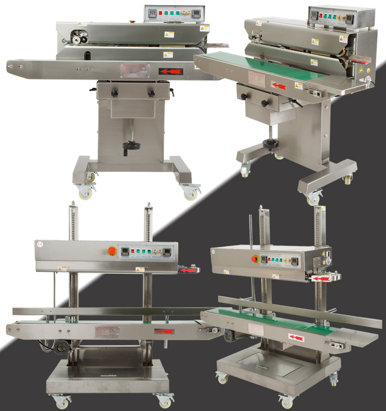 Bag Band Film Packing Machine Continuous Sealer for Big Size Dimension Bags with Adjusable Lifting Heat Sealing Wheels