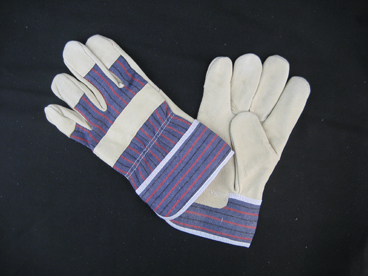 Pig Grain Leather Full Palm Stripe Cotton Back Work Glove