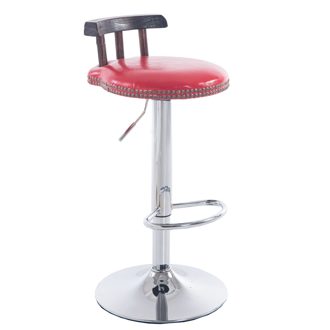 Modern Adjustable Leather Swivel Bar Stools Chair with Wood Back Red