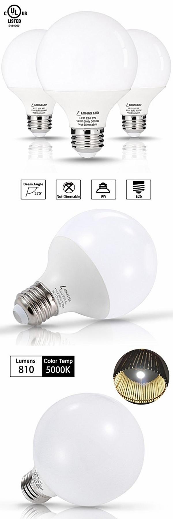 Non-Dimmable 9W E26 LED Globe Bulb G25 LED Bulbs 60W Halogen Bulbs Equivalent Light Bulb with UL Listed