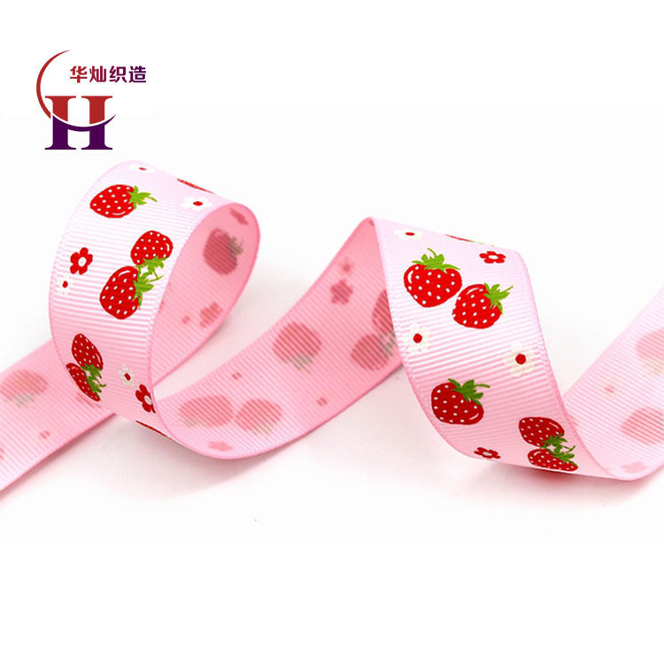 Beautiful Printed Polyester Grosgrain Ribbon with Strawberry