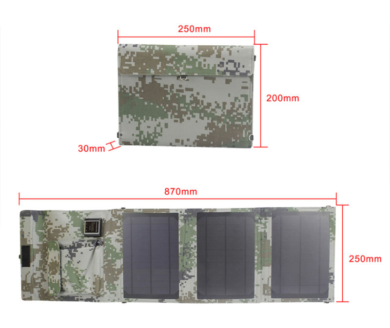 15W Foldingwaterproof USB Solar Charger for Travel