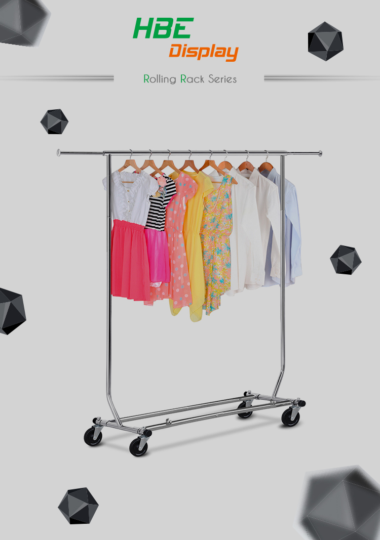Collapsible Chromed Double Bar Rolling Garment Clothes Rack