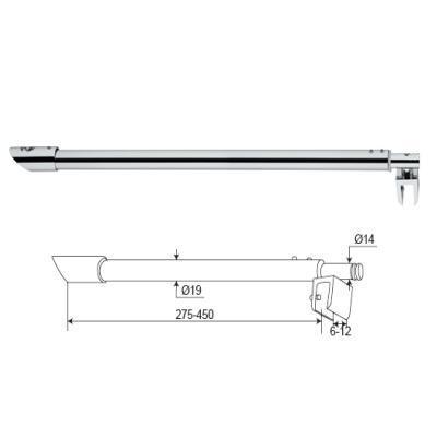 Brass+Stainless Steel Glass Shower Door Support Bars (SR-95)