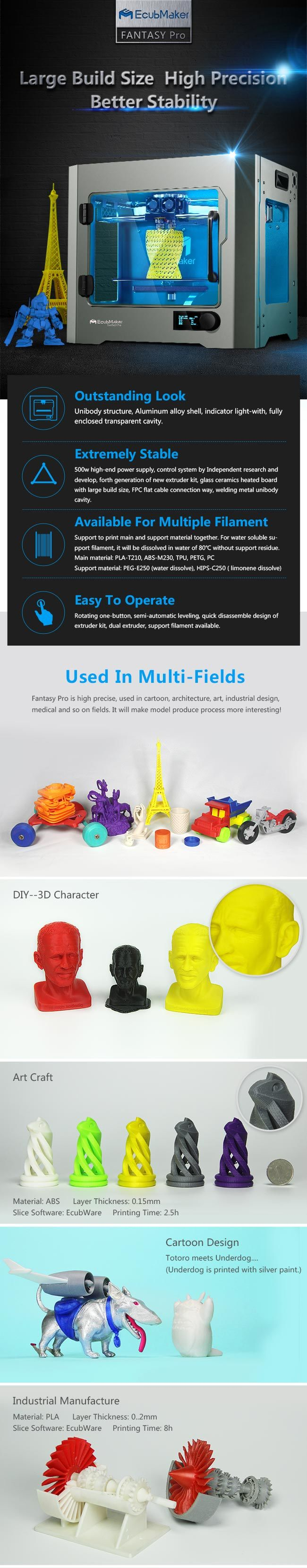 Ecubmaker OLED Screen Printing Machine/3D Multi Color Printer Usage Architecture Machine/High Precision Large 3D Printers