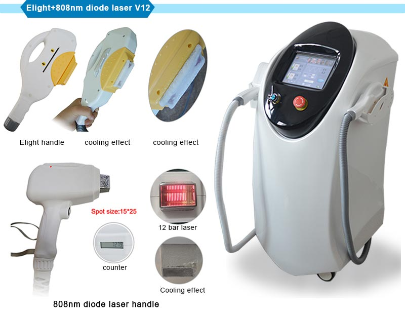 Newly Designed 2 Handles Elight+808nm Diode Laser Machine