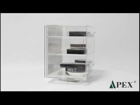 Acrylic cosmetic polish display cube case with 3 drawer