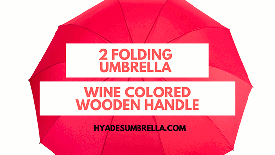 Wine Colored Wooden Handle 2 Folding Umbrella