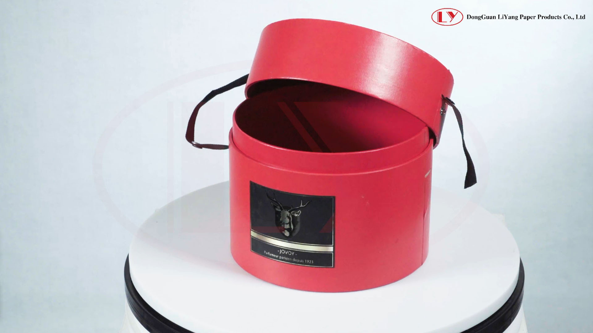 Red Cardboard Round Box with Ribbon Handle