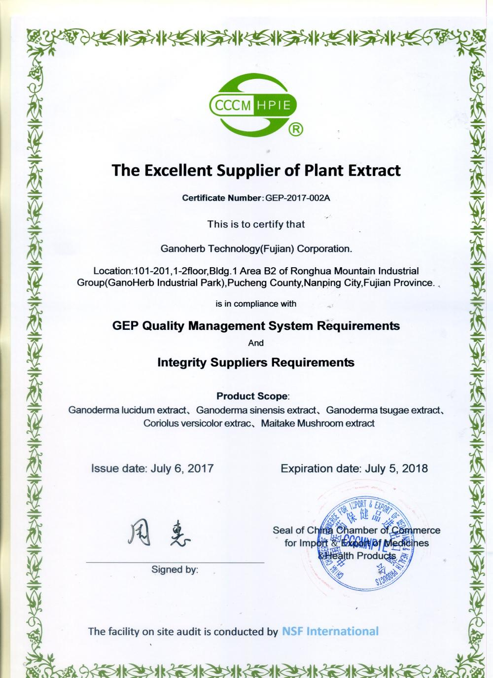 Excellent supplier of plant extract