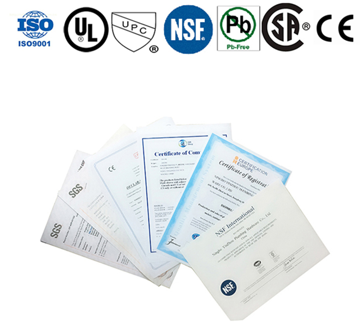 NSF,CE,UPC,CSA,ISO9001, SGS TEST REPORT