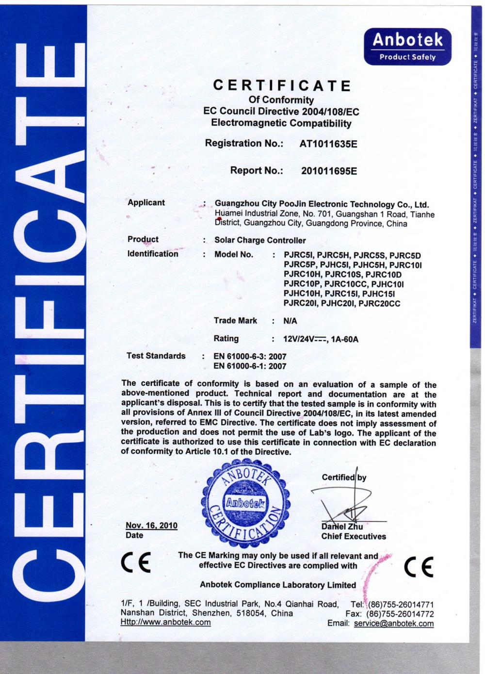 Certificate of Conformity Solar Charger Controller