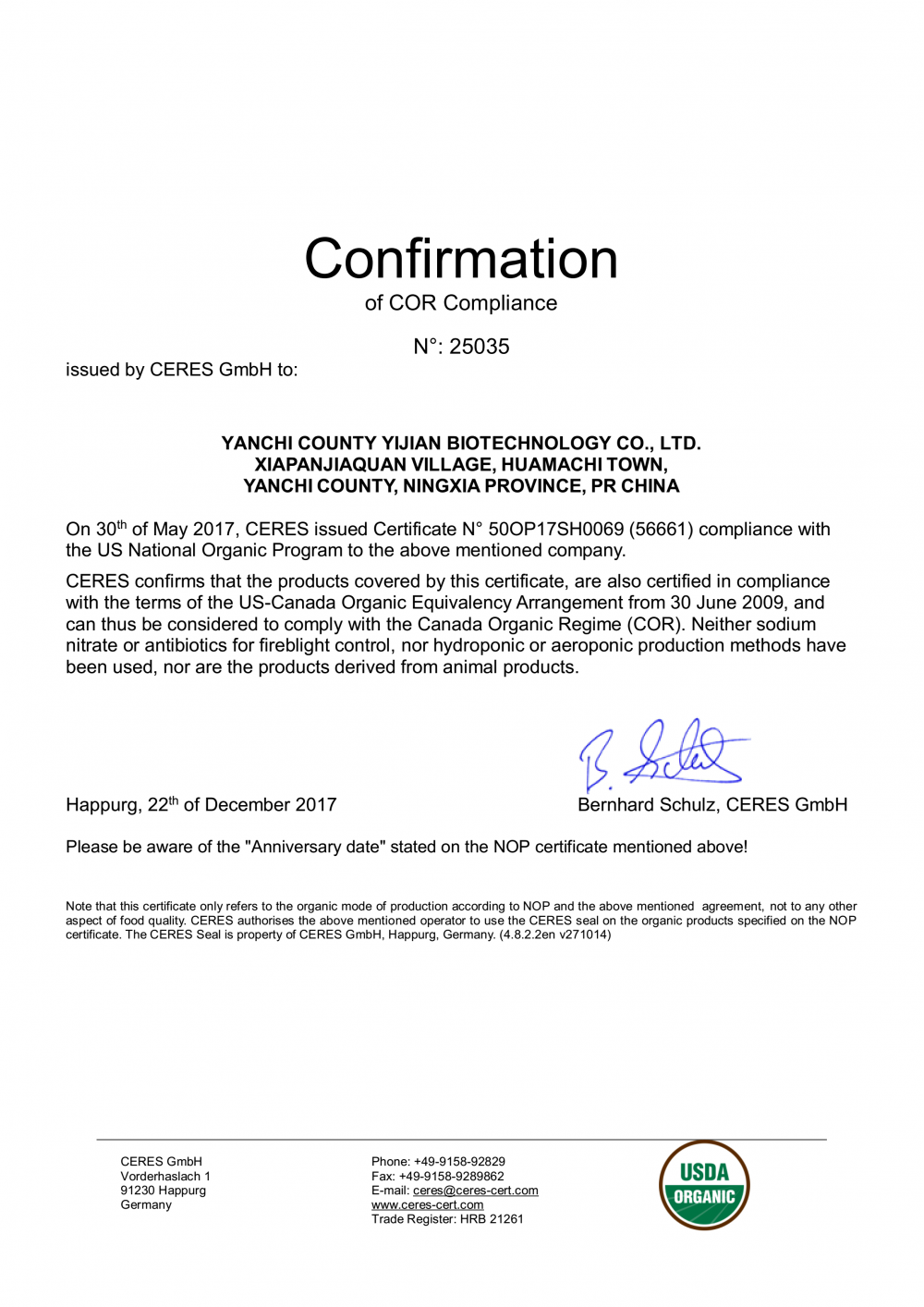 Confirmation of COF ( Canada Organic Regime ) Compliance