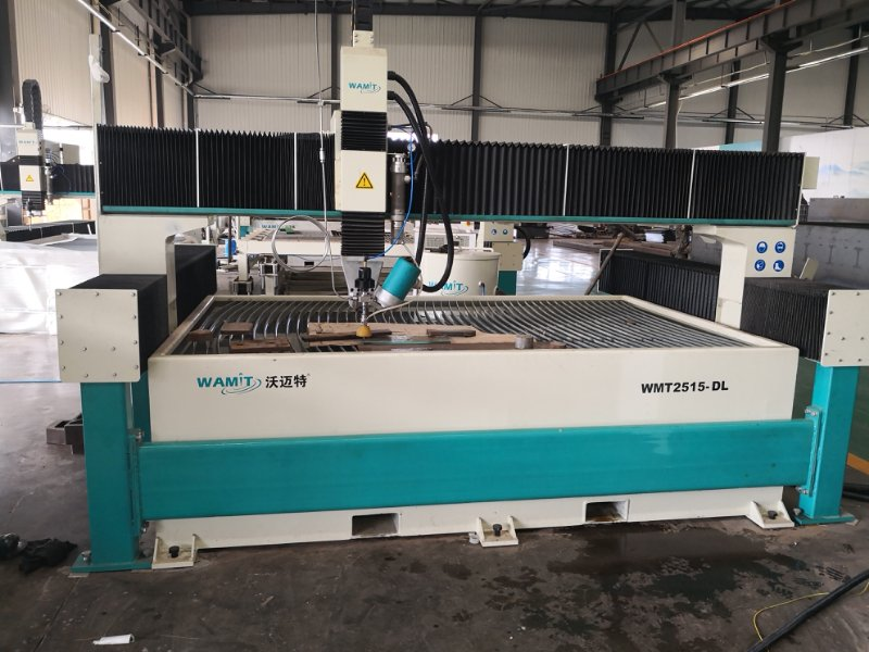 WMT2515-ZDL 5 axis 10 degree cut 8mm hole on 8mm glass waterjet cutting machine