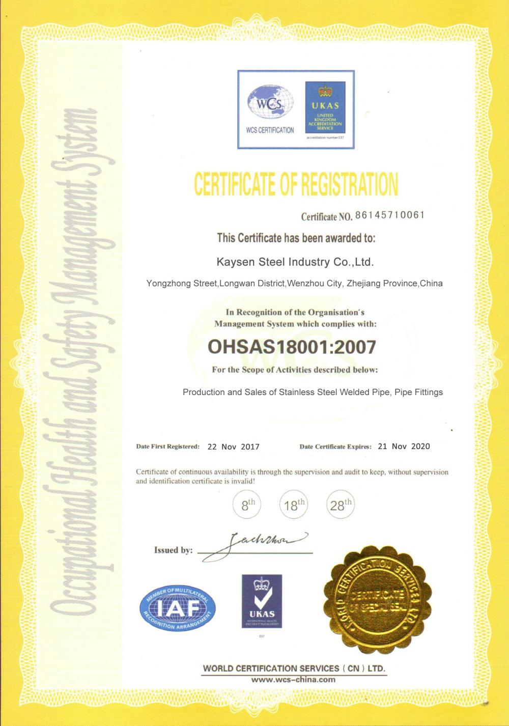 OHSAS/OHSMS 18001