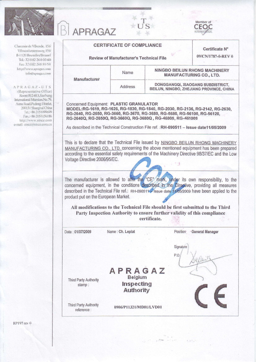 CE certification for granulators