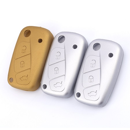 Gold and silver colors for fiat silicone car key cover