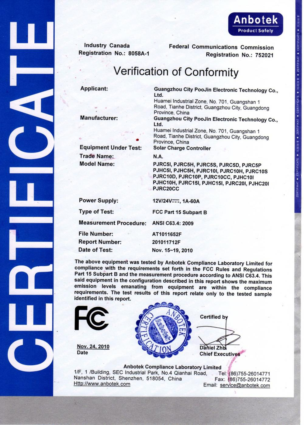 Verification of conformity Solar Charge Controller