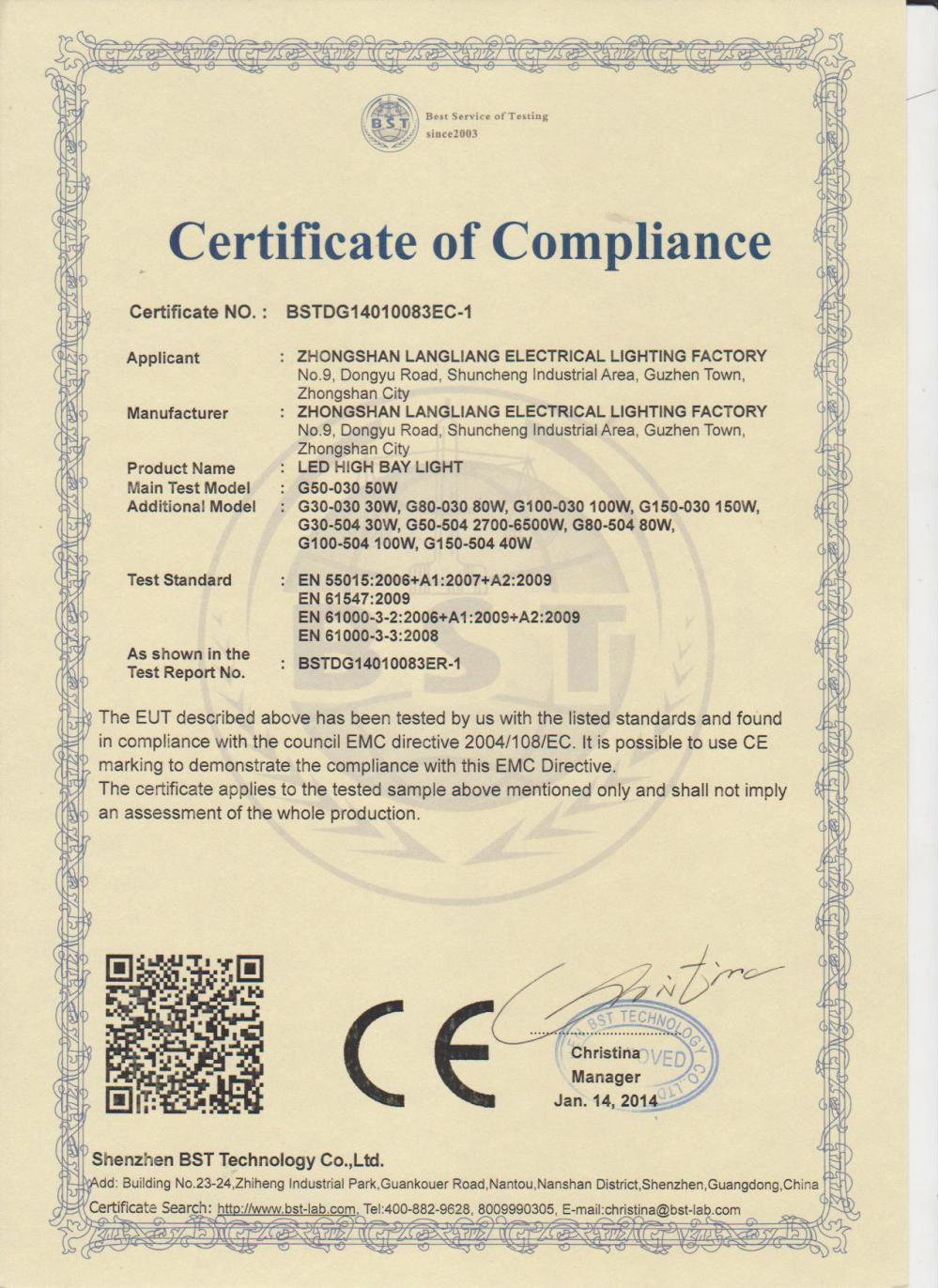 LED high bay light CE certificate