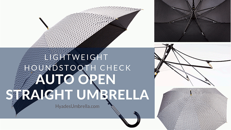 Lightweight Houndstooth Check Auto Open Straight Umbrella