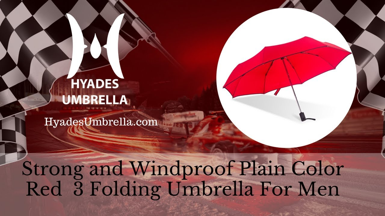 Strong and Windproof Plain Color Red 3 Folding Umbrella For Men
