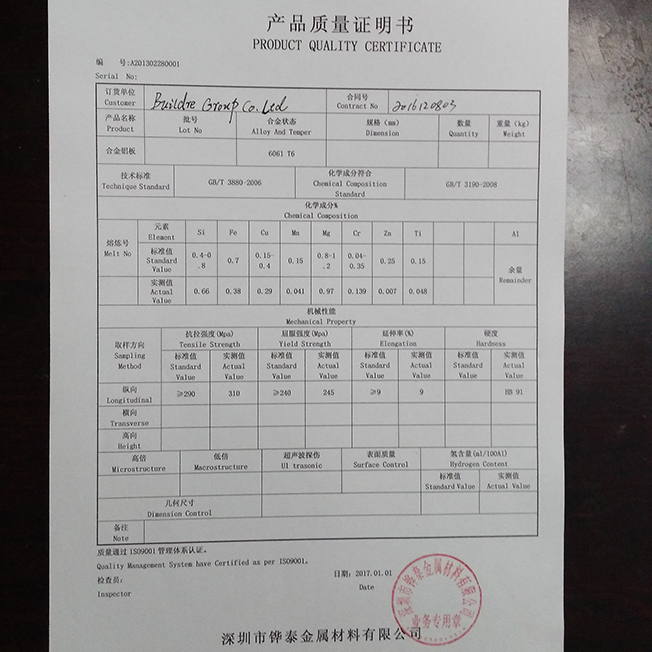 Chemical analysis of aluminum 6061-T6