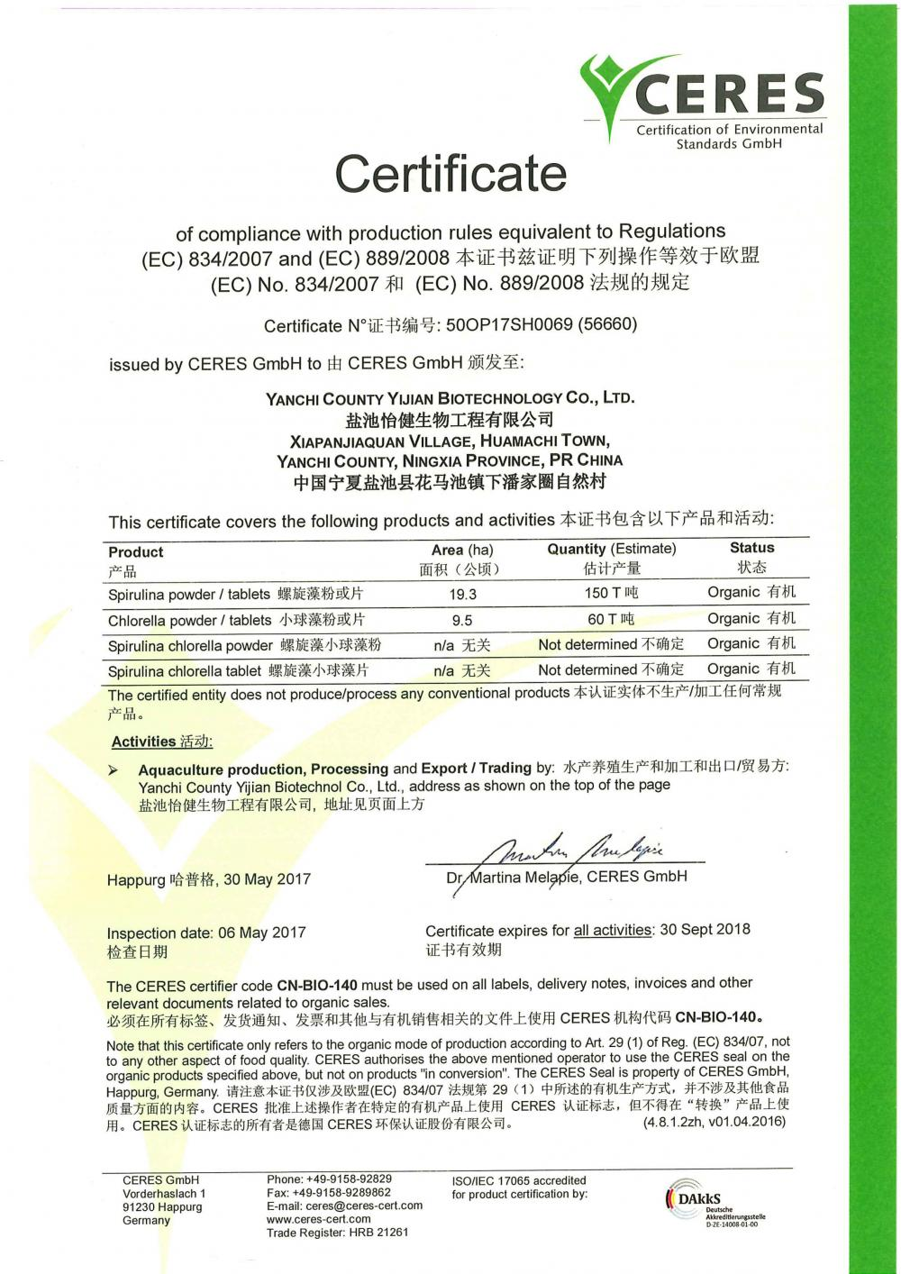 CERES Certificate ( EU Standards )
