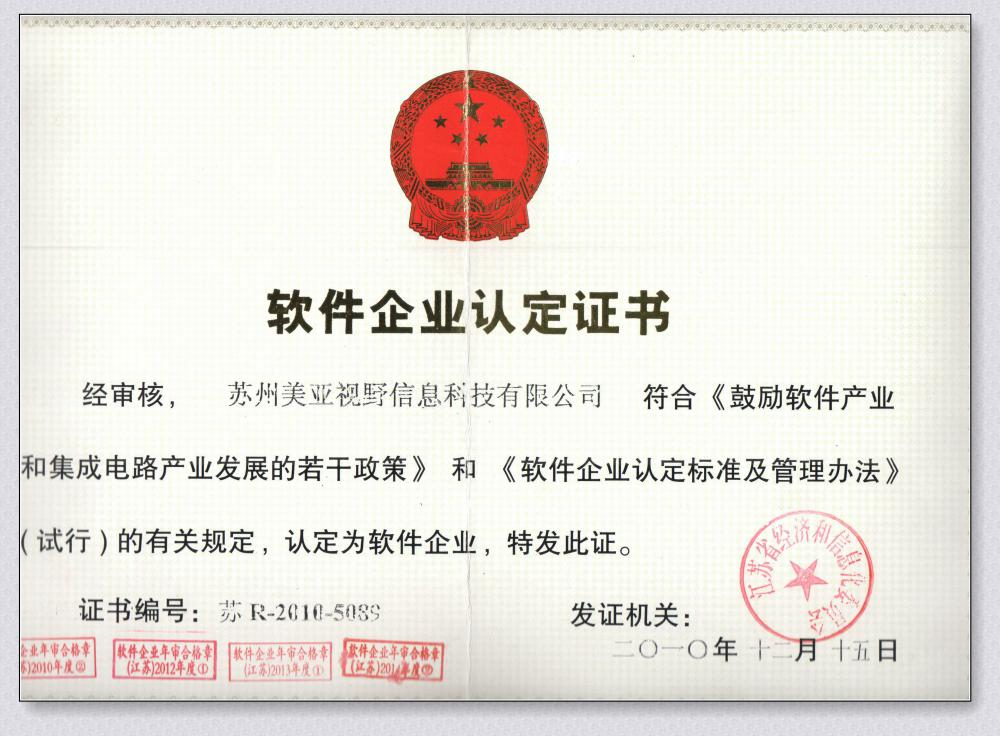 Certificate of software enterprise
