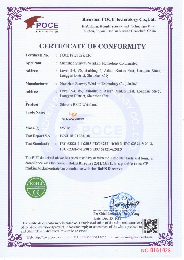 Silicone RFID Wristband RoSHCertificate