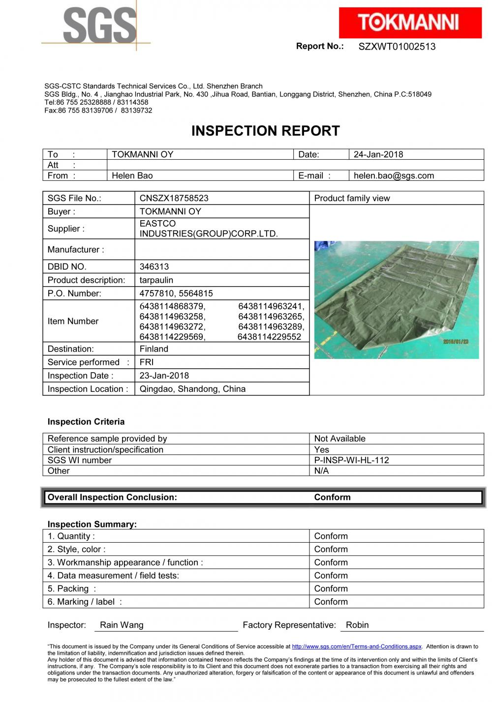 SGS inspection report