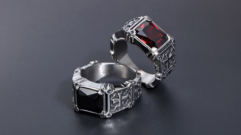 Wholesale Stainless Steel Mens Ring With Stone