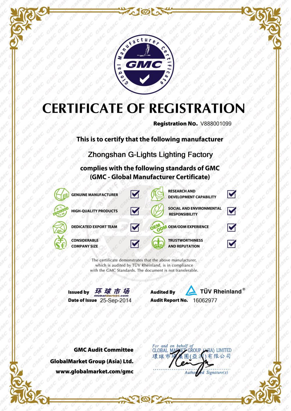 Global Manufacturer Certificate