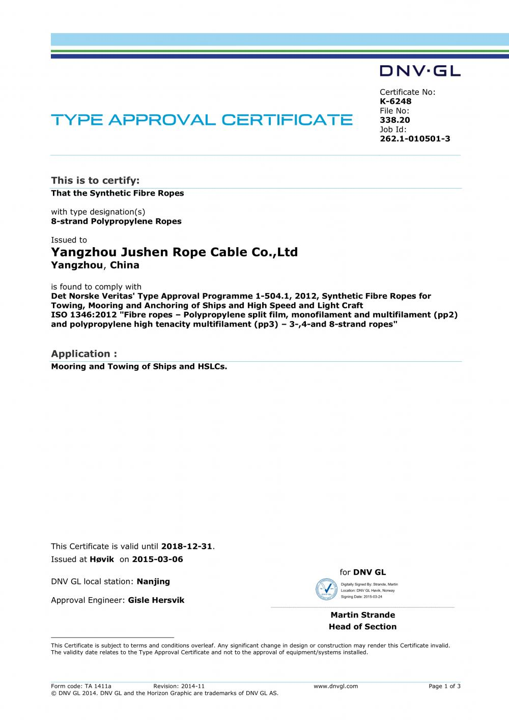 DNV.GL Certificate Of Works Approval