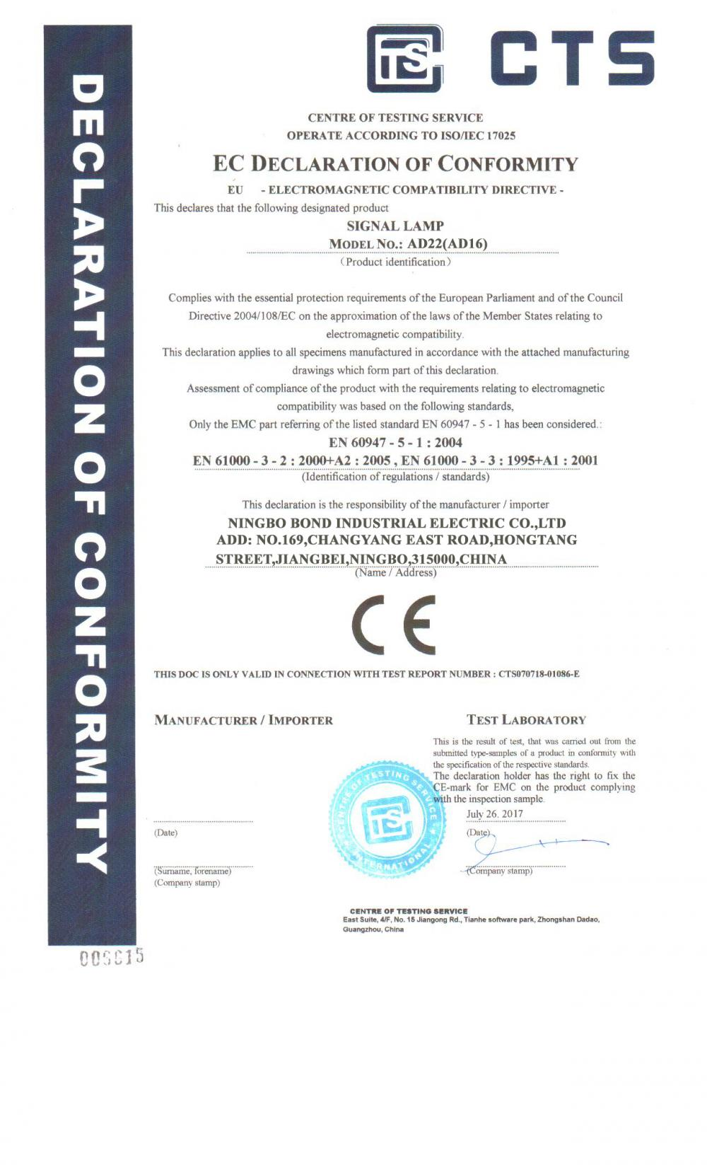 CE Certificate for Indicator