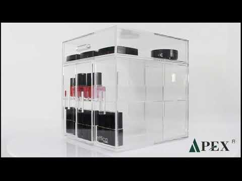 Unique design transparent acrylic cosmetic cube display case