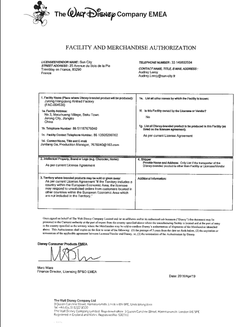 FACILITY AND MERCHANDISE AUTHORIZATION   DISNEY FAMA