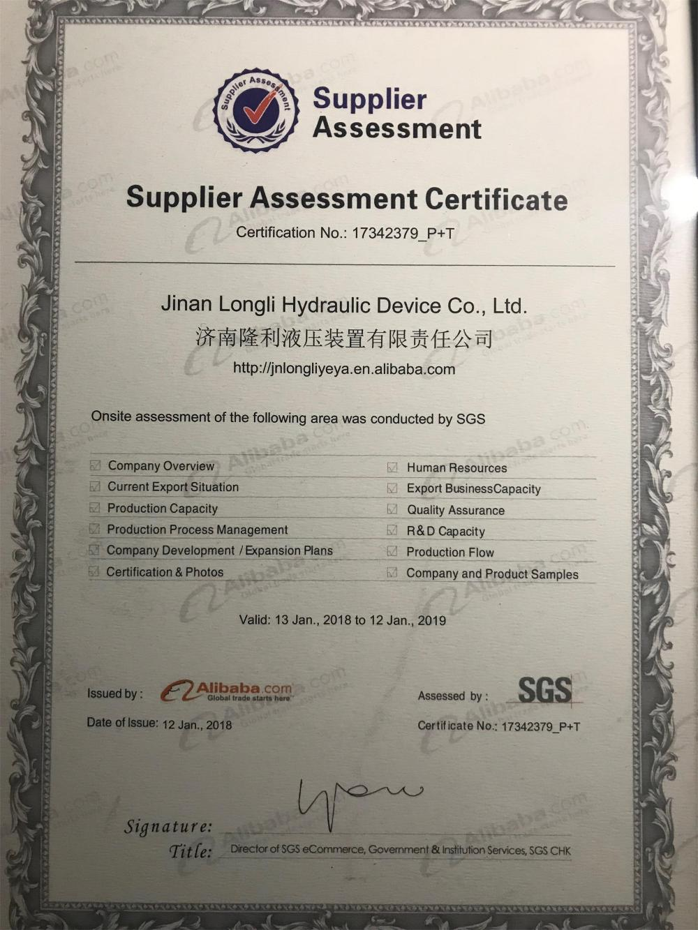 Supplier Assessment Certificate by SGS