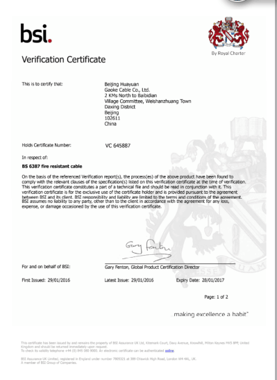 VERIFICATION CERTIFICATE