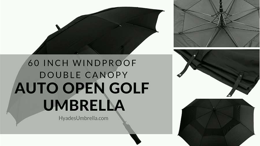 60 Inch Windproof Double Canopy Auto Open Golf Umbrella