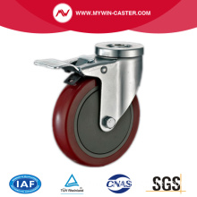 Top Braked Bolt Hole Swivel Red PU Wheels