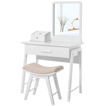 vanity dressing table Square Mirror Makeup Organizer Dressing Table 1 Large Drawer with Sliding Rails White