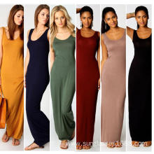 Hot sale for Leave Casual Evening Dress Silk Stretch Casual Summer Long Sleeveless Lady Dress export to Colombia Suppliers