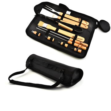 10PCS Wooden Handle BBQ Set With Oxford Bag