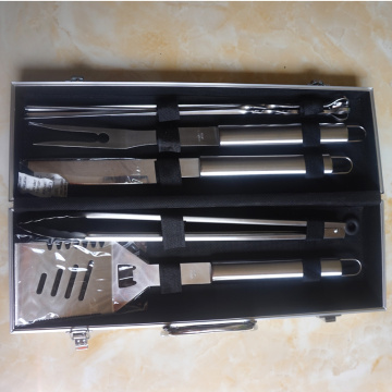 5 pcs BBQ tool set with aluminum case