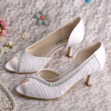 ODM for Satin Lace Edge Bridal Shoes Wedopus Mid Heel Bridal Pumps White supply to Portugal Wholesale
